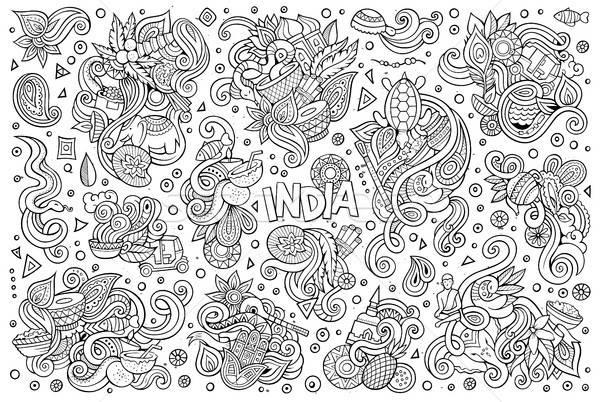 ベクトル いたずら書き 漫画 セット インド デザイン ストックフォト © balabolka