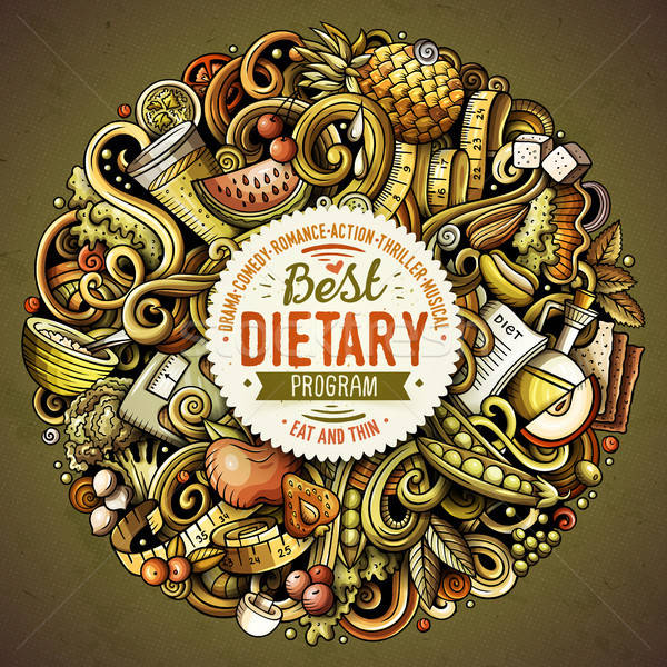 Desenho animado vetor dieta comida ilustração Foto stock © balabolka