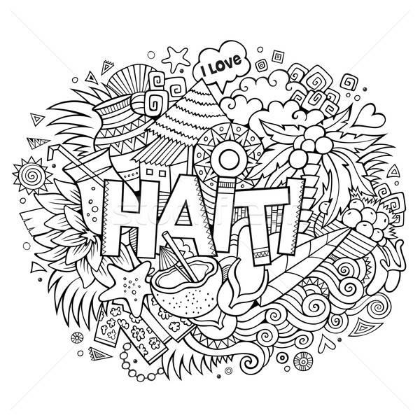 Haiti mano scarabocchi elementi simboli vettore Foto d'archivio © balabolka