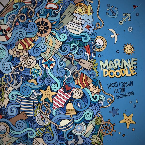 Garabatos marinos náutico vector frontera resumen Foto stock © balabolka