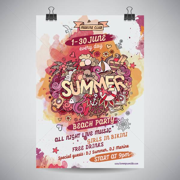 Vektor nyár vízfesték festék buli poszter Stock fotó © balabolka