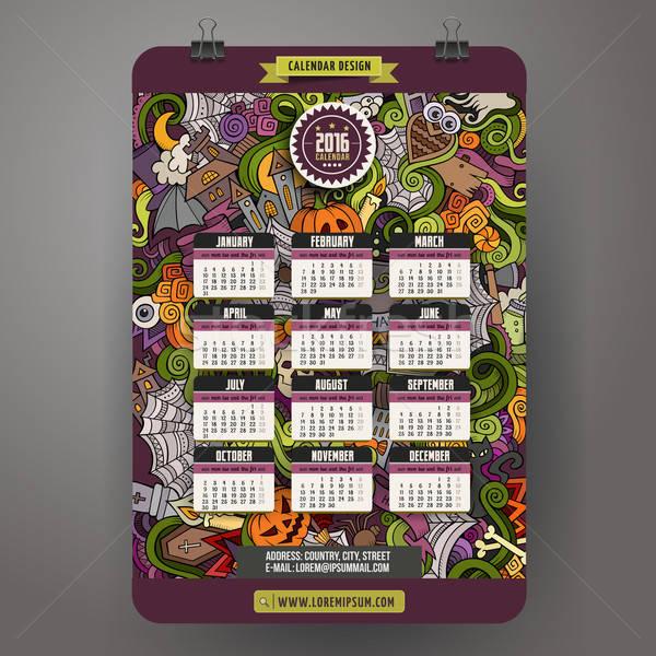 Bazgroły kolorowy cartoon halloween kalendarza Zdjęcia stock © balabolka