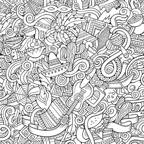 Cartoon hand-drawn doodles on the subject Latin American style Stock photo © balabolka
