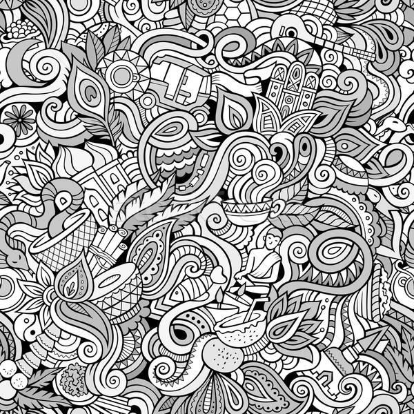 Cartoon scarabocchi indian stile contorno Foto d'archivio © balabolka