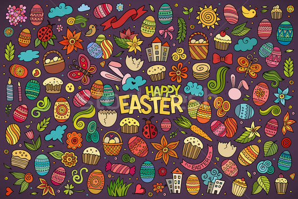 Colorful vector hand drawn doodles cartoon set of Easter objects Stock photo © balabolka
