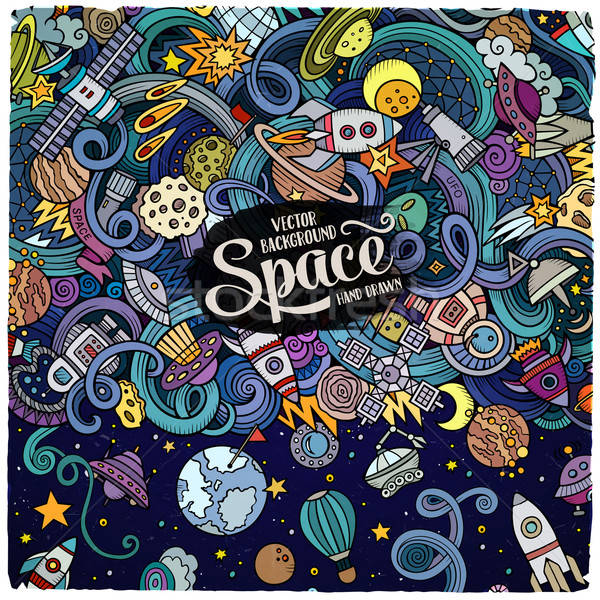 Stock photo: Cartoon cute doodles hand drawn space illustration