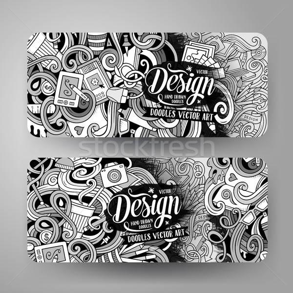 Cartoon vector doodles artistic banners Stock photo © balabolka