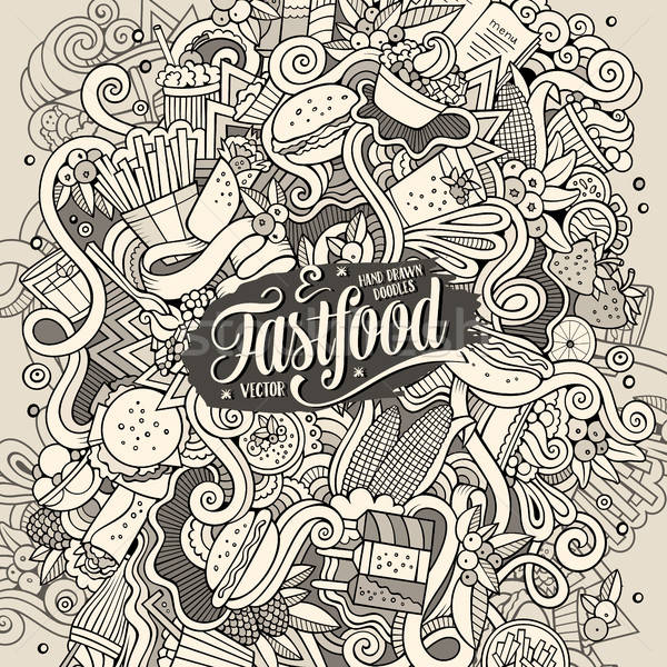 Cartoon cute doodles hand drawn Fastfood illustration Stock photo © balabolka