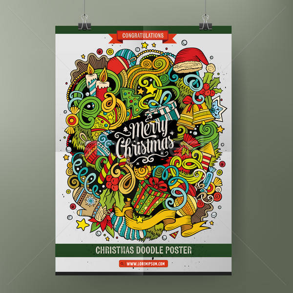 Cartoon doodles Happy New Year poster template Stock photo © balabolka