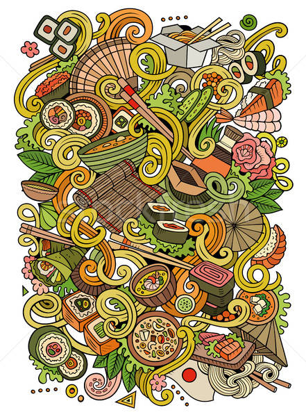 Cartoon Japan voedsel illustratie cute Stockfoto © balabolka