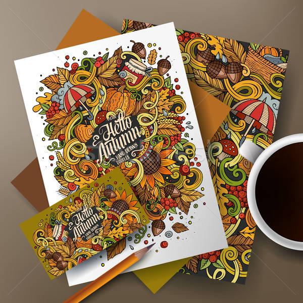 Cartoon doodles Autumn corporate identity set Stock photo © balabolka