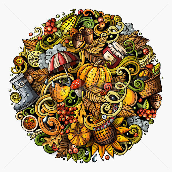 Cartoon cute doodles hand drawn Autumn round illustration. All items are separate. Stock photo © balabolka