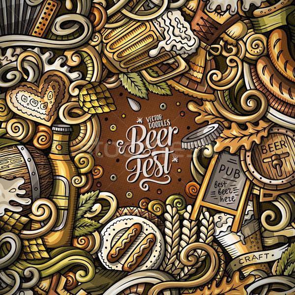 Cartoon cute doodles hand drawn Beer fest frame design Stock photo © balabolka