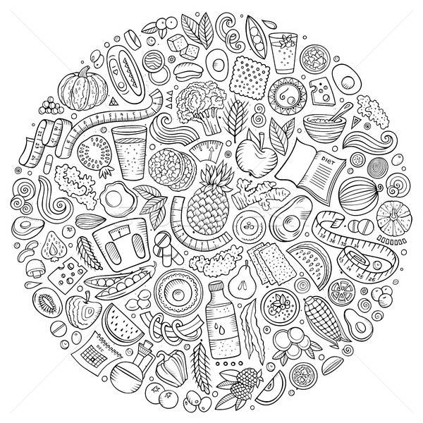 Set of vector cartoon doodle Diet food objects collected in a circle Stock photo © balabolka