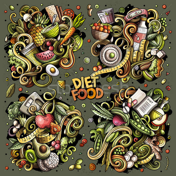 Vektor firkák rajz szett diéta étel Stock fotó © balabolka