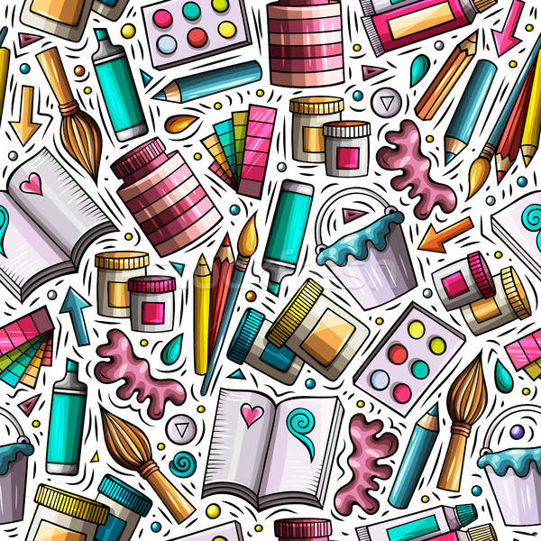 Cartoon cute hand drawn Design and Art seamless pattern Stock photo © balabolka