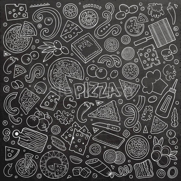 Stock photo: Vector cartoon set of Pizzeria objects and symbols