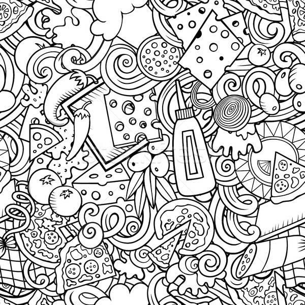 Stock photo: Cartoon cute doodles hand drawn Pizza seamless pattern