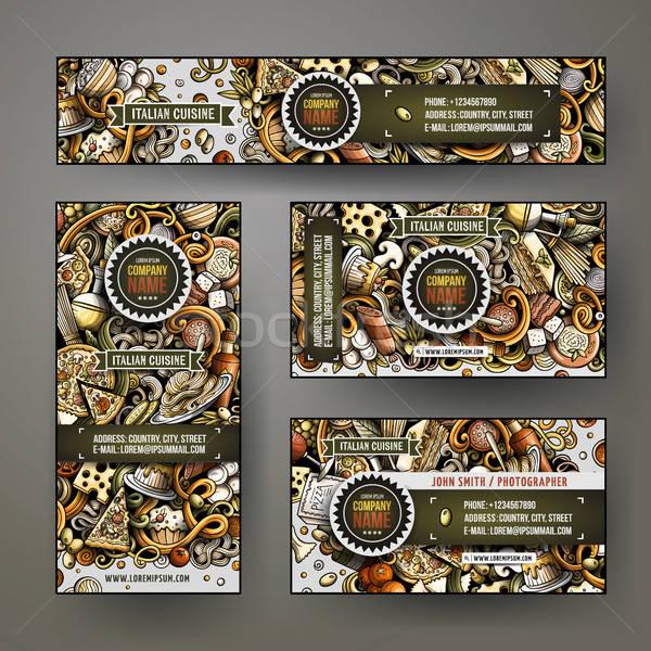 Corporate Identity vector templates set design with doodles hand drawn Italian food theme Stock photo © balabolka