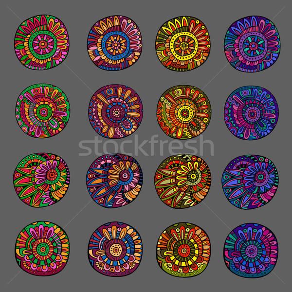 Stock fotó: Szett · színek · virágmintás · terv · elemek · dekoratív