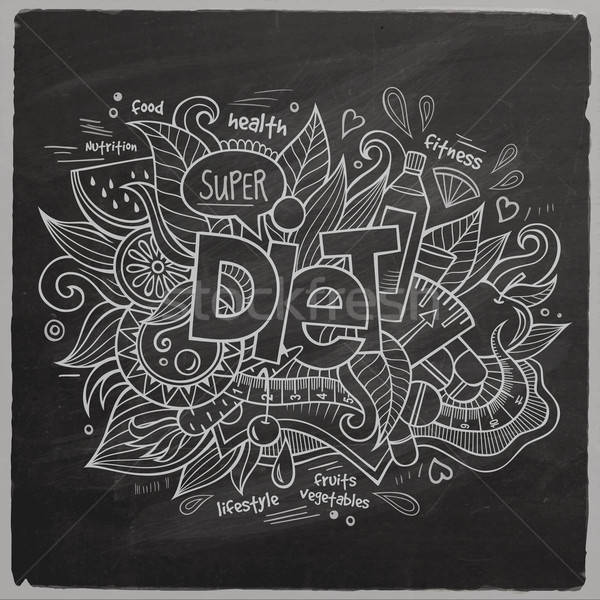 Diet Vector hand lettering On Chalkboard Stock photo © balabolka