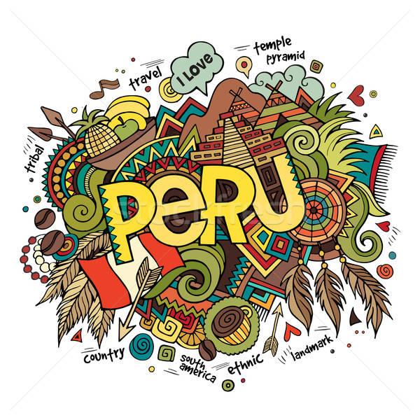 Peru el karalamalar elemanları kahve manzara Stok fotoğraf © balabolka