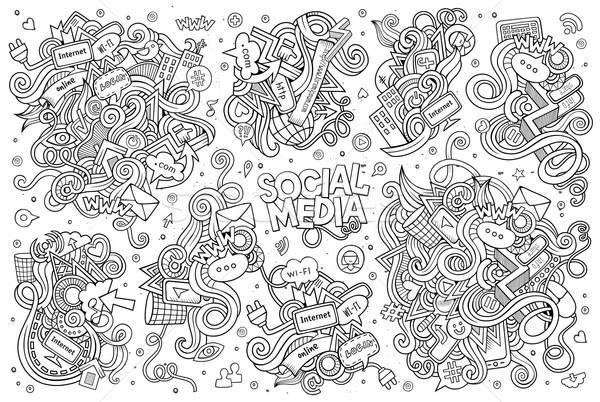 Vector doodle cartoon ingesteld Stockfoto © balabolka