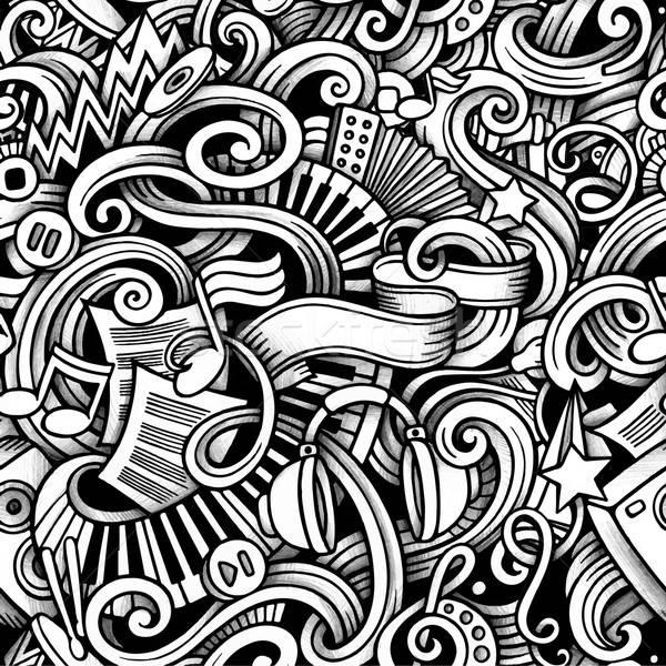 Stock fotó: Rajz · firkák · zene · végtelen · minta · stílus · vektor