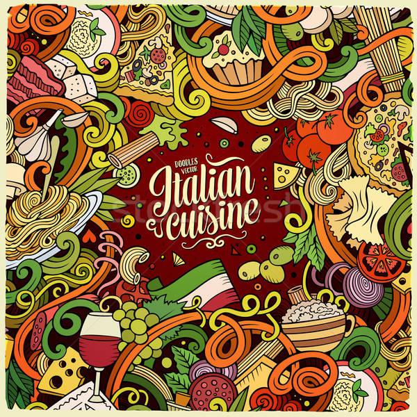 Cartoon scarabocchi cucina italiana frame colorato dettagliato Foto d'archivio © balabolka
