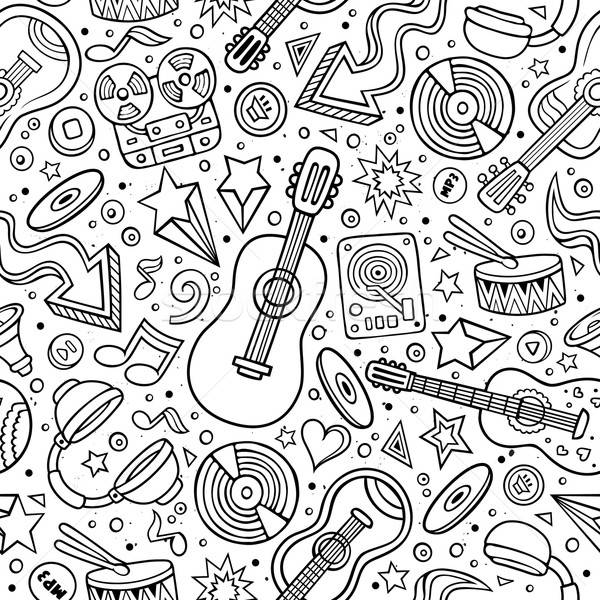 Cartoon hand-drawn musical instruments seamless pattern Stock photo © balabolka