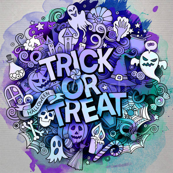 Stock photo: Cartoon cute doodles Trick or treat inscription