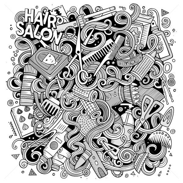 Cartoon doodles Hair salon illustration Stock photo © balabolka