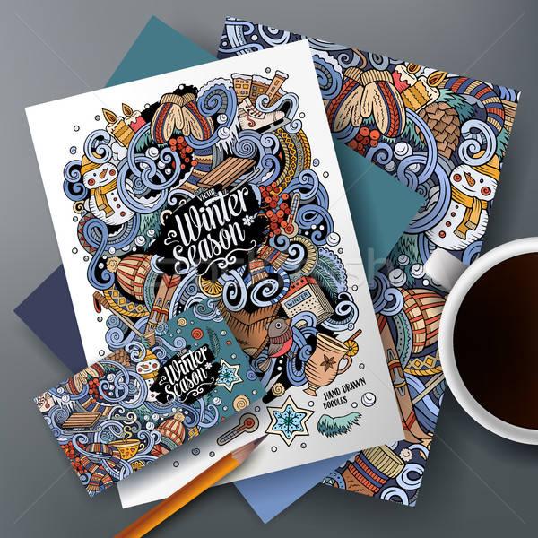 Cartoon vector doodles Winter corporate identity set Stock photo © balabolka