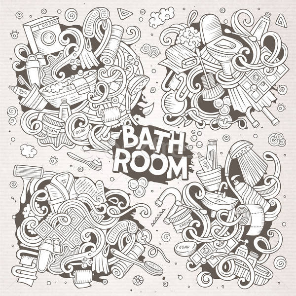 Vector set of Bathroom doodles designs Stock photo © balabolka