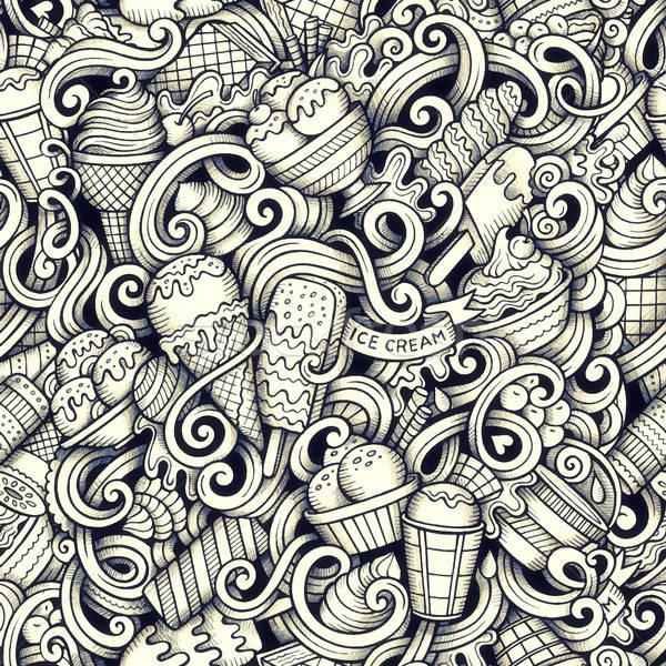 Cartoon hand drawn ice cream doodles seamless pattern Stock photo © balabolka