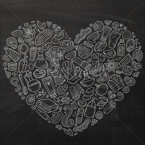ベクトル セット マッサージ サロン いたずら書き オブジェクト ストックフォト © balabolka