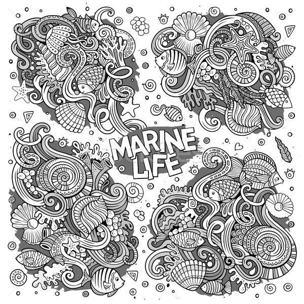 Línea arte establecer marinos vida garabato Foto stock © balabolka