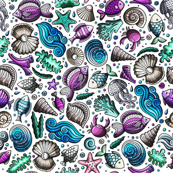 Cartoon under water life seamless pattern Stock photo © balabolka