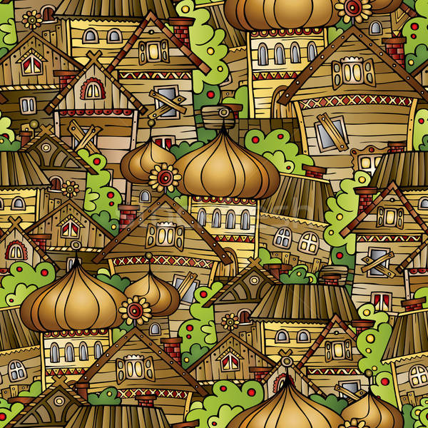 Cartoon fairy tale drawing village Stock photo © balabolka