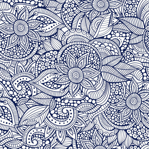 Sketchy doodles decorative floral outline ornamental seamless pa Stock photo © balabolka