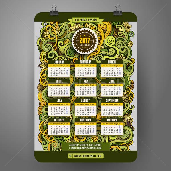 Kritzeleien Karikatur dekorativ floral Kalender Jahr Stock foto © balabolka