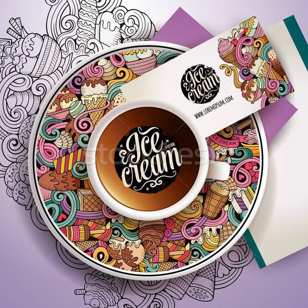 Cup of coffee and hand drawn ice cream theme Stock photo © balabolka