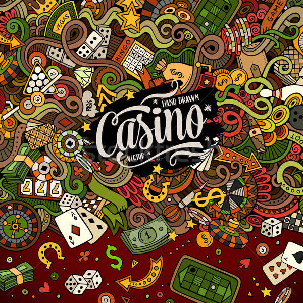 Cartoon doodles casino frame design Stock photo © balabolka