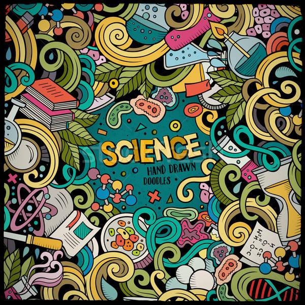 Foto stock: Cartoon · cute · garabatos · dibujado · a · mano · ciencia · marco