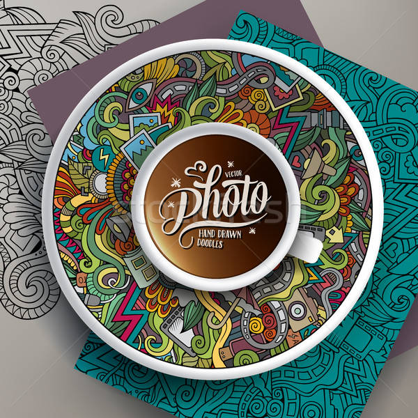 Cup of coffee Photo doodles on a saucer, paper and background Stock photo © balabolka