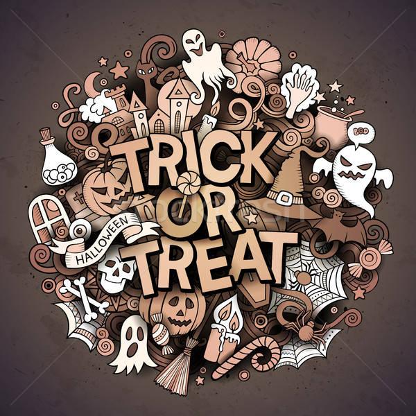 Cartoon cute doodles Trick or treat inscription Stock photo © balabolka