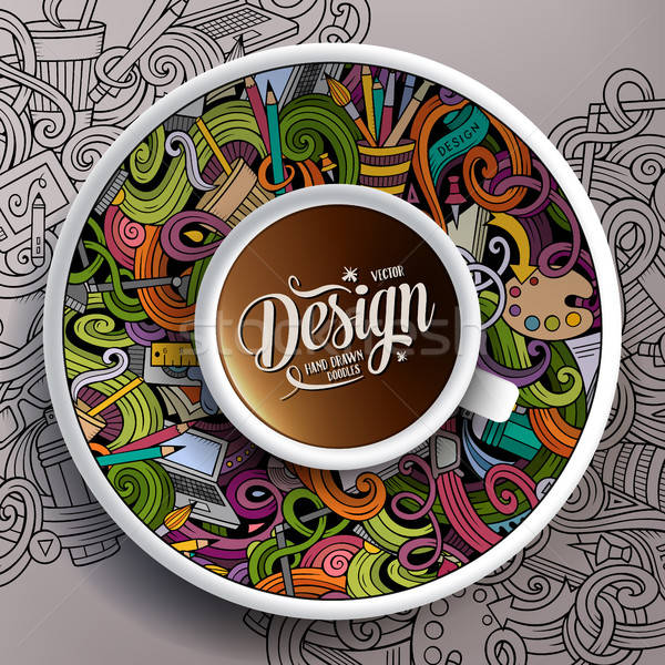 Кубок кофе дизайна блюдце бумаги Сток-фото © balabolka