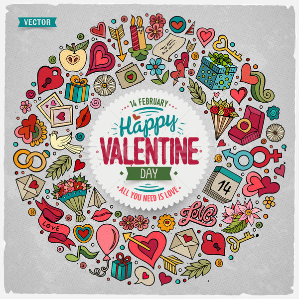 Vector set of Love cartoon doodle objects Stock photo © balabolka