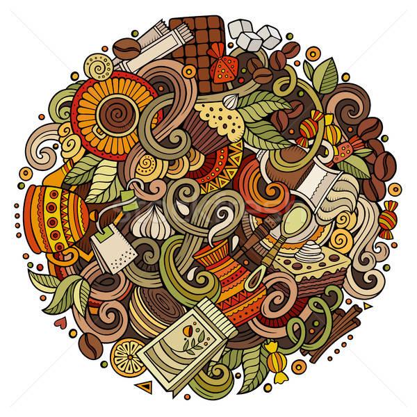 Karikatür karalamalar kafe kahvehane örnek renkli Stok fotoğraf © balabolka