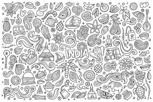 ベクトル いたずら書き 漫画 セット インド オブジェクト ストックフォト © balabolka